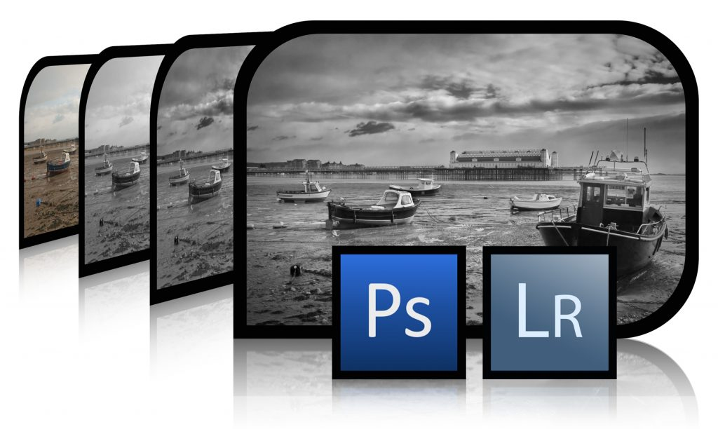 Photograph Showing Adobe Photoshop and Lightroom Logos with Black and White Images for the Welshot Photographic Learn Photo Editing in Chester England