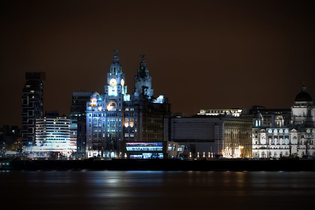 Photograph taken at the Welshot Imaging Photographic Academy Evening in Birkenhead of the Liverpool Skyline at Night
